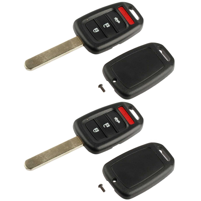 2013-2015 Crosstour 2016-2017 HR-V Key Fob Keyless Entry Remote Shell Case /& Pad fits Honda 2013-2015 Accord 2015-2016 CR-V Set of 2 USARemote