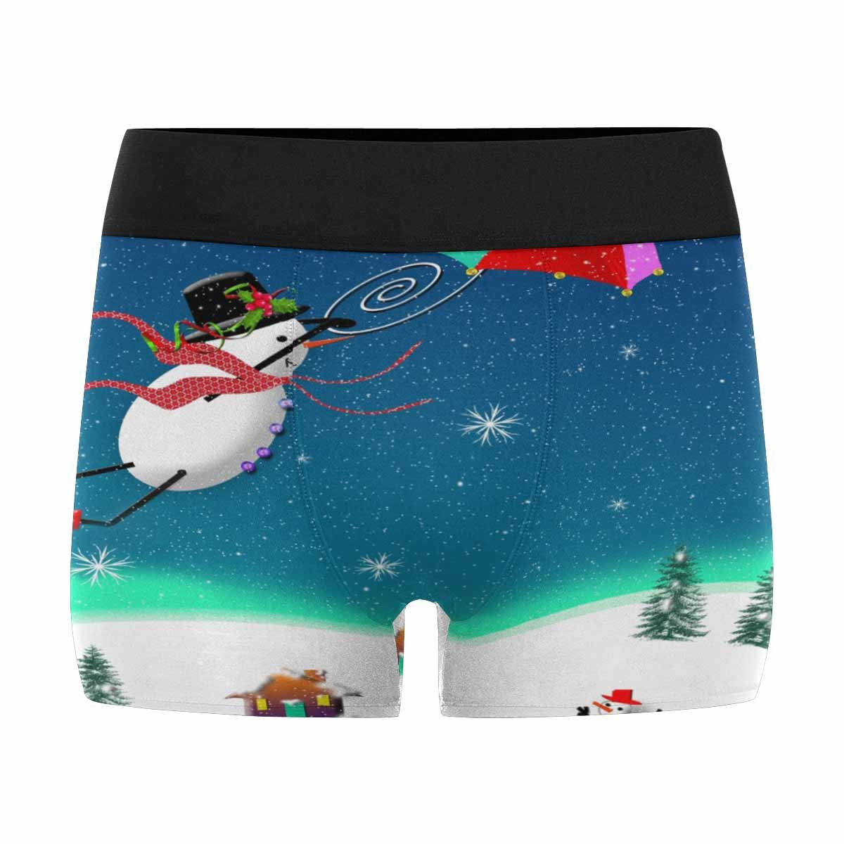 XS-3XL INTERESTPRINT Custom Mens Boxer Briefs Snowman Flying with Umbrella Graphic