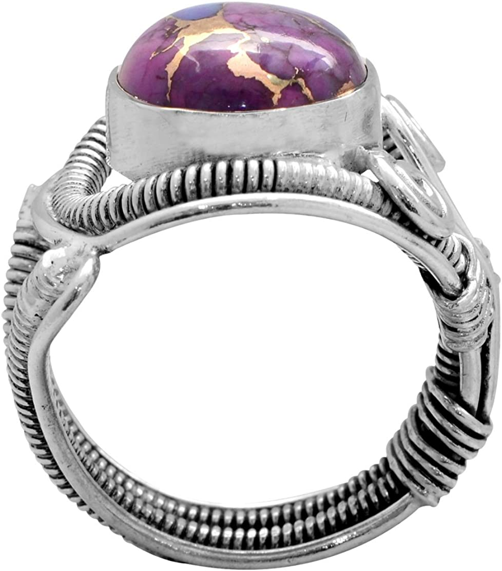 YoTreausre Purple Copper Turquoise Solid 925 Sterling Silver Ring