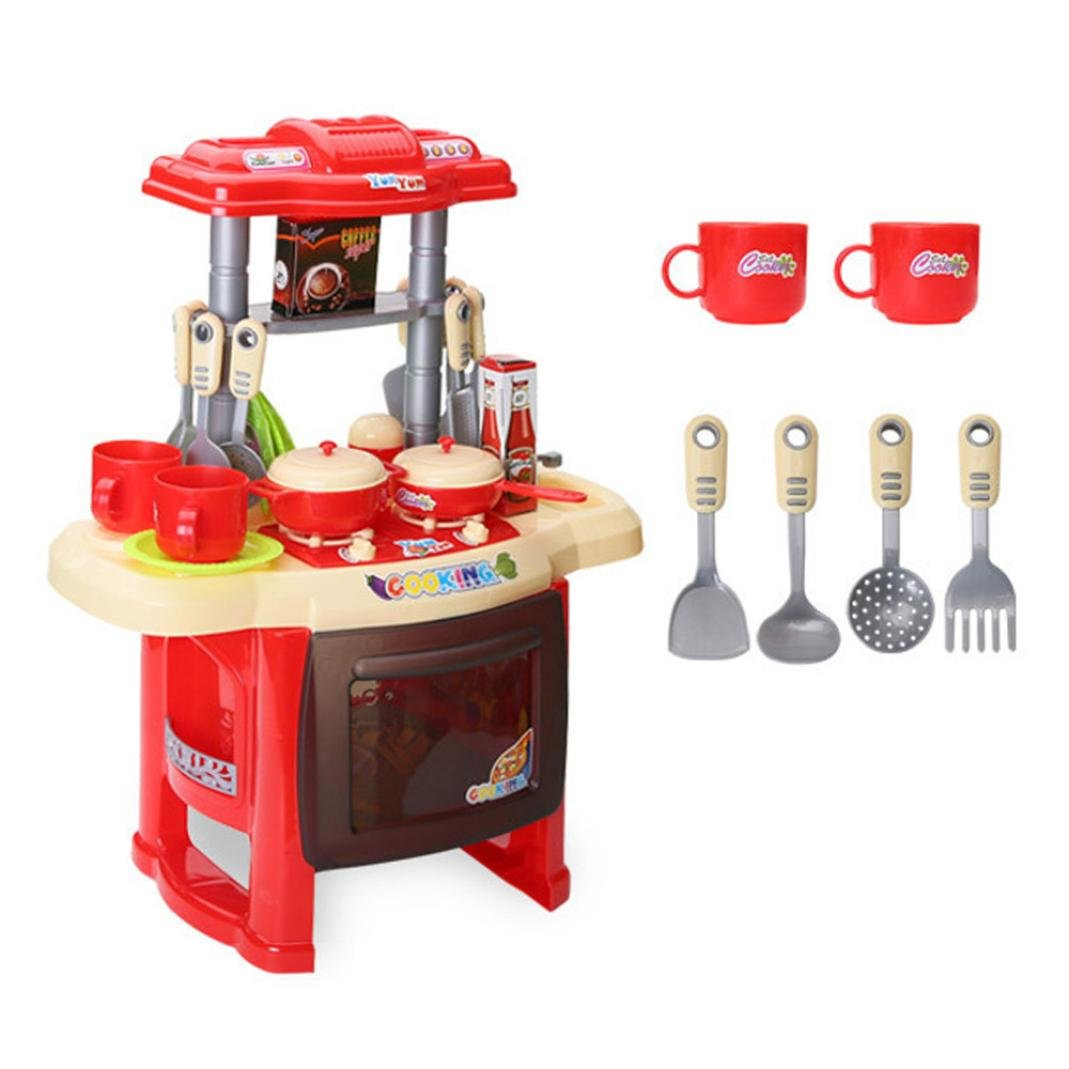 Verlike 13Pcs//Set Pretend Play Kitchen Cooking Cookware Playset Utensils Toys for Kids Baby Girls Boys Rose Red
