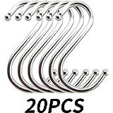S-Haken Edelstahl Küchenhaken S-förmige Hängehaken Metallhaken zum Aufhängen Edelstahlhaken für Küche Badezimmer Schlafzimmer verwenden Silber(20 Stück)