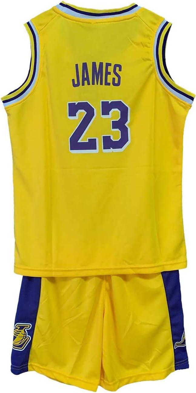 AIEEDR Camiseta de Baloncesto para niño – Lakers # 23 Lebron James – Traje de Entrenamiento – Jersey, Color Amarillo, tamaño XL/150-160: Amazon.es: Deportes y aire libre