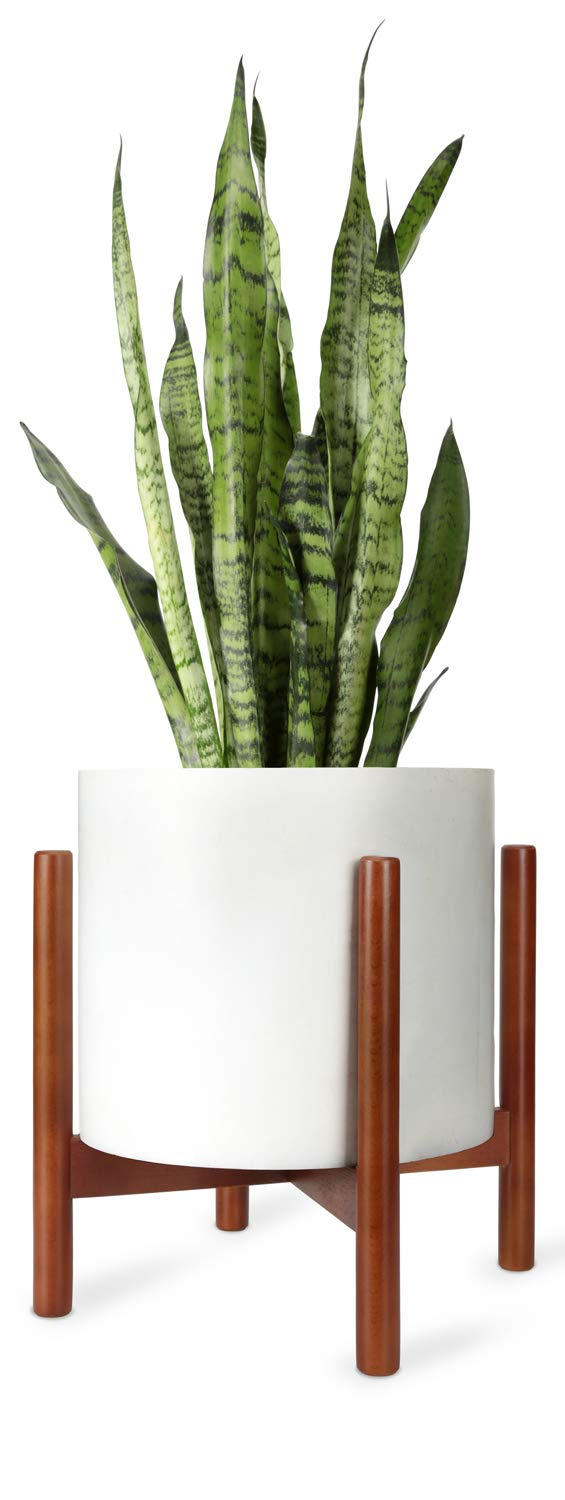Mkono Plant Stand Mid Century Wood Flower Pot Holder Display Potted Rack Rustic, Up to 12 Inch Planter (Planter Not Included), Brown by Mkono