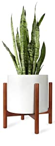 Mkono Plant Stand Mid Century Wood Flower Pot Holder Display Potted Rack Rustic, Up to 12 Inch Planter (Planter Not Included), Brown