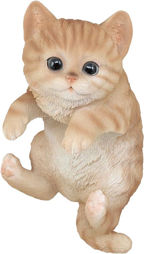 "Ebros Lifelike Sitting Orange Tabby Cat w//Glass Eyes Resin Statue 7.5/""H"