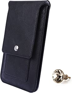 SumacLife 5.5 inch Universal Vertical PU Leather Wallet Cellphone Belt Clip Case Cover Pouch Holster for Lenovo A916, LG G4 Plus Swarovski Crystal Headphone Jack Dust Plug, Black