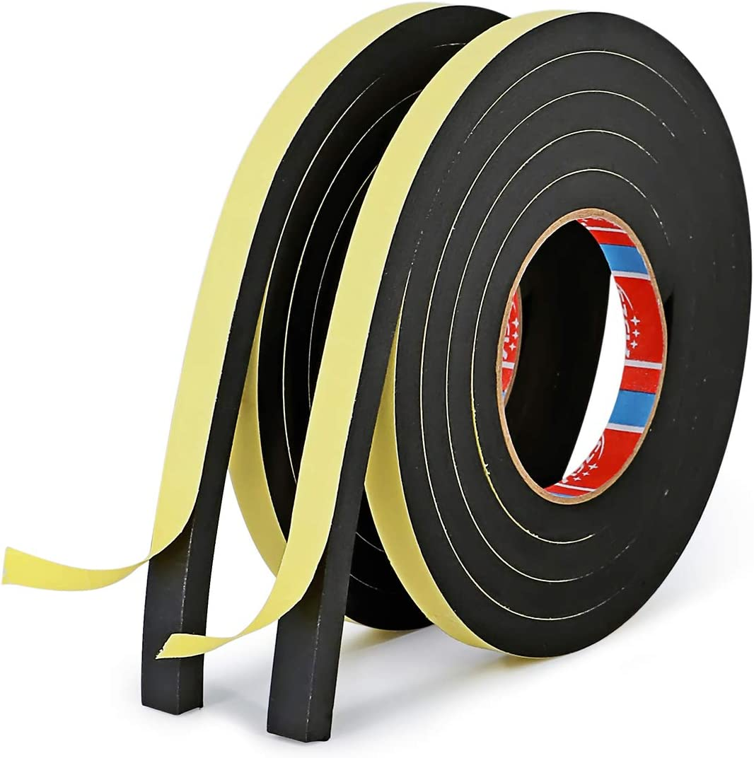 1/2 Inch Wide x 3/8 Inch Thick Foam Self Adhesive Tape for Sound Insulation Shock Absorption Weather Stripping Draft Seal, Doors and Windows, Black Single Sided (6.5ft X 2Rolls)