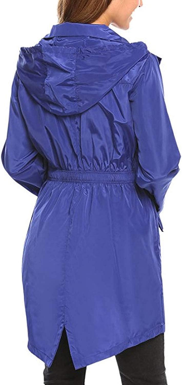 Yacun Women Raincoat Waterproof Rain Jacket Outdoor Hooded Coat