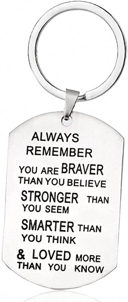 TISDA Always Remember You are Braver Than You Believe Jewelry Necklace//Keyring Stainless Steel Pendant