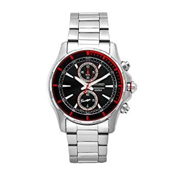 Seiko Mens SNN247 Sports Stainless-Steel Black Chronograph Dial Watch