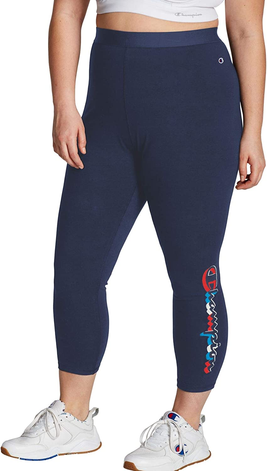 Champion Women S Plus Size Authentic 7 8 Legging Athletic Navy W Script 4x Large At Amazon Women S Clothing Store