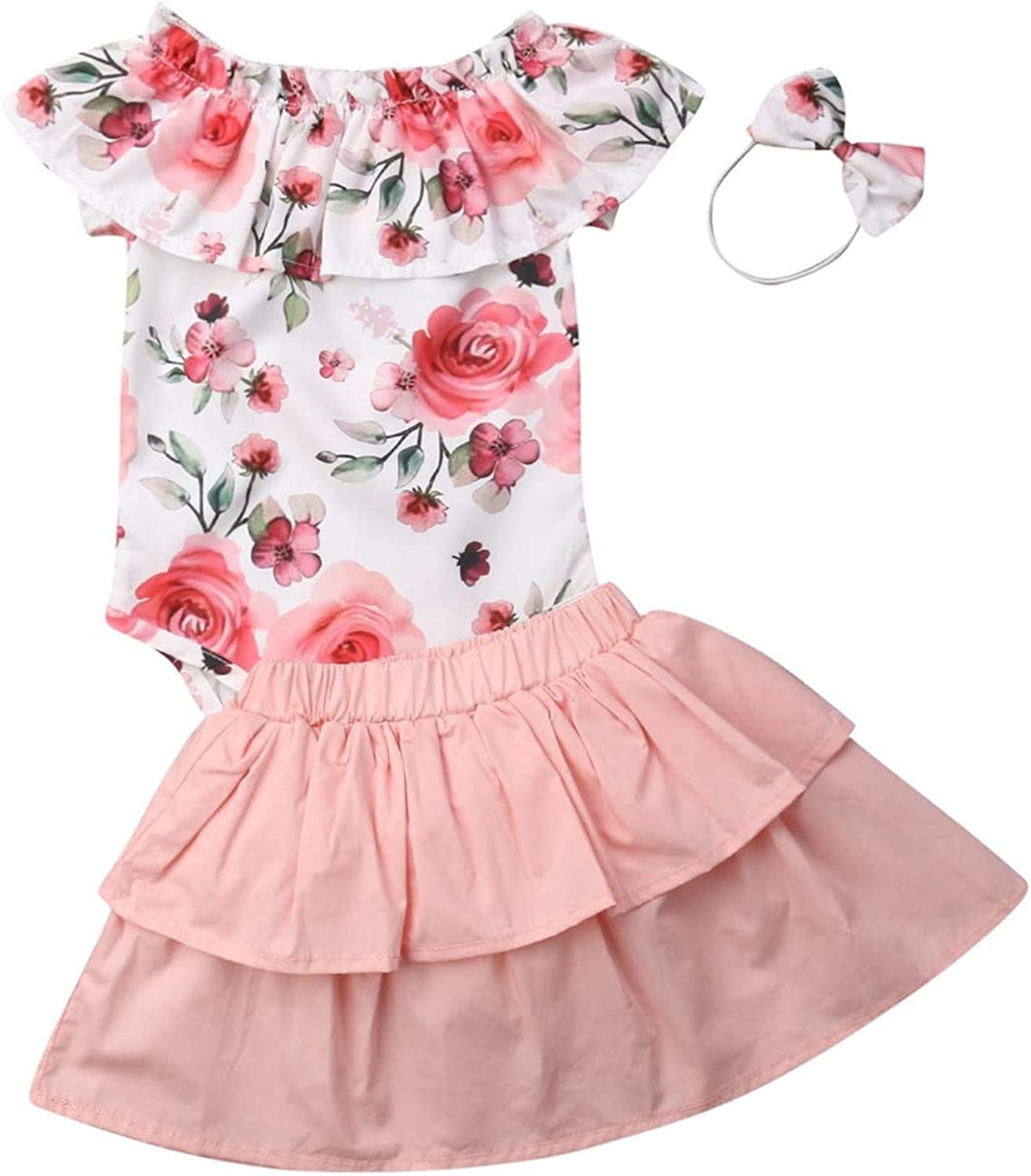Newborn Baby Girls Floral Dress Clothes Romper Tops+Swing Skirt+Headband Outfits