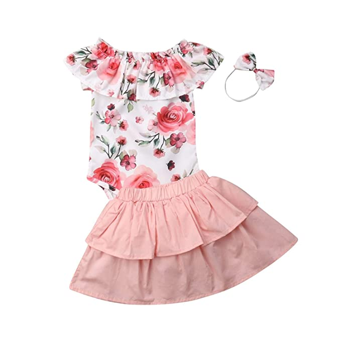 3911207cd5c9 3PCS Newborn Baby Girl Clothes Off Shoulder Floral Romper Jumpsuit Skirt  Headband Outfit Set(12M