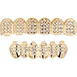 Mumustar 1 Set Gold Plated Hip Hop Teeth Grills Set Top & Bottom Grill Teeth Caps Removable for Adults (Gold)