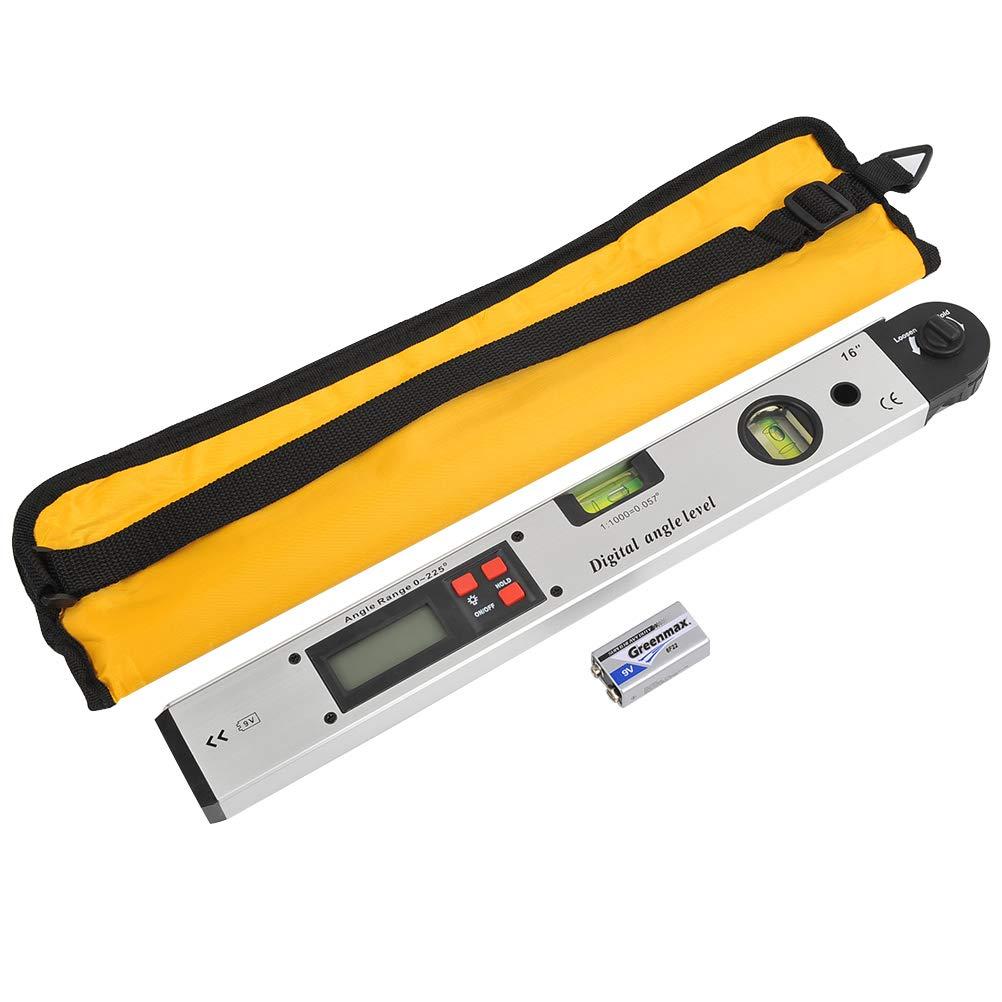 YOTINO 400mm Buscador de Ángulo Digital 16 inch 0~225° Medidor de Angulos Digital Retroiluminado LCD Digital Inclinómetro Transportador Nivel de Ángulo con Bolsa Portátil para Ingenieros