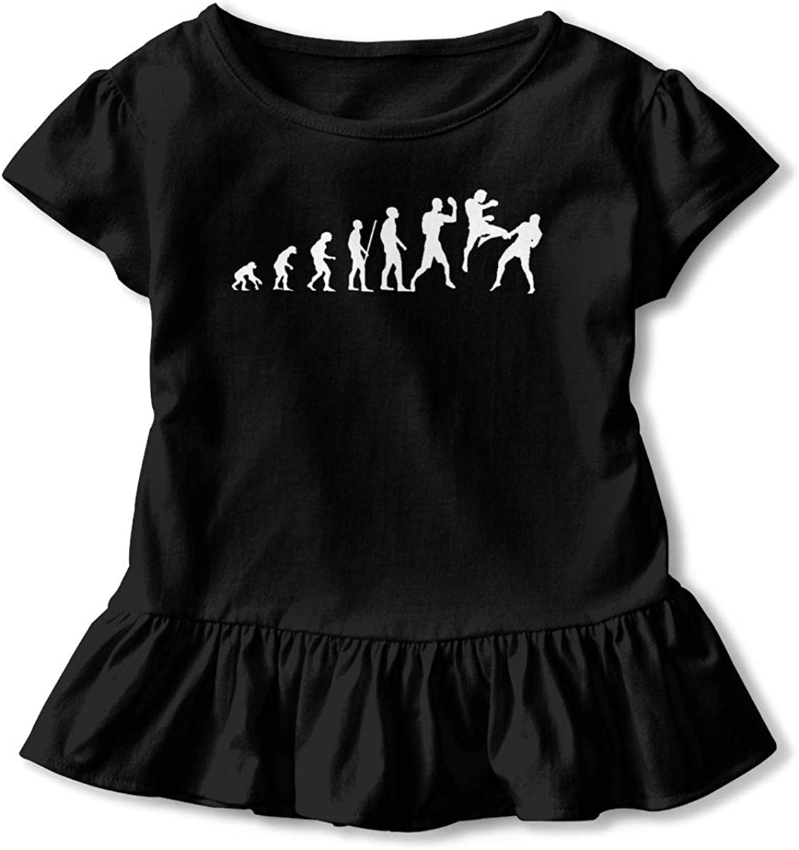 Not Available Muay Thai Boxing Evolution Shirt Baby Girls Ruffles Print Clothes for 2-6 Years Old Baby Black