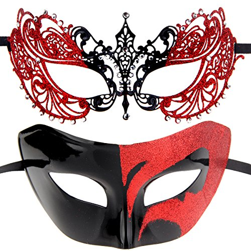 (Couples Pair Mardi Gras Venetian Masquerade Masks Set Party Costume Decorations)