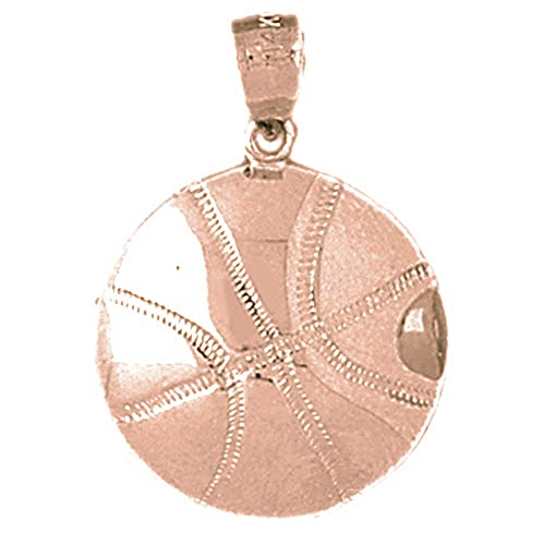 Jewels Obsession Basketball Necklace Rhodium-plated 925 Silver Basketball Pendant with 16 Necklace