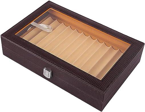 P Prettyia Caja De Bolígrafo De Cuero PU 12 Rejillas Organizador Caja Mostrador De Exhibición De Joyería - café: Amazon.es: Joyería