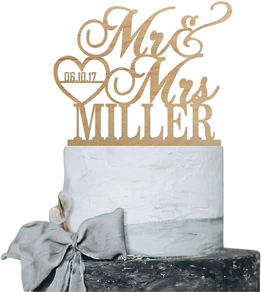 Personalized Mr /& Mrs Wooden Wedding Cake Topper Decoration Keepsake