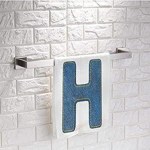 "prunushome Bath Towels Letter H Machine Washable Towel Denim Letter Design Uppercase H Fabric Pattern Jeans Texture Retro Typography for Bathroom Spa Gym Sports Blue Marigold (9.8""x9.8"")"