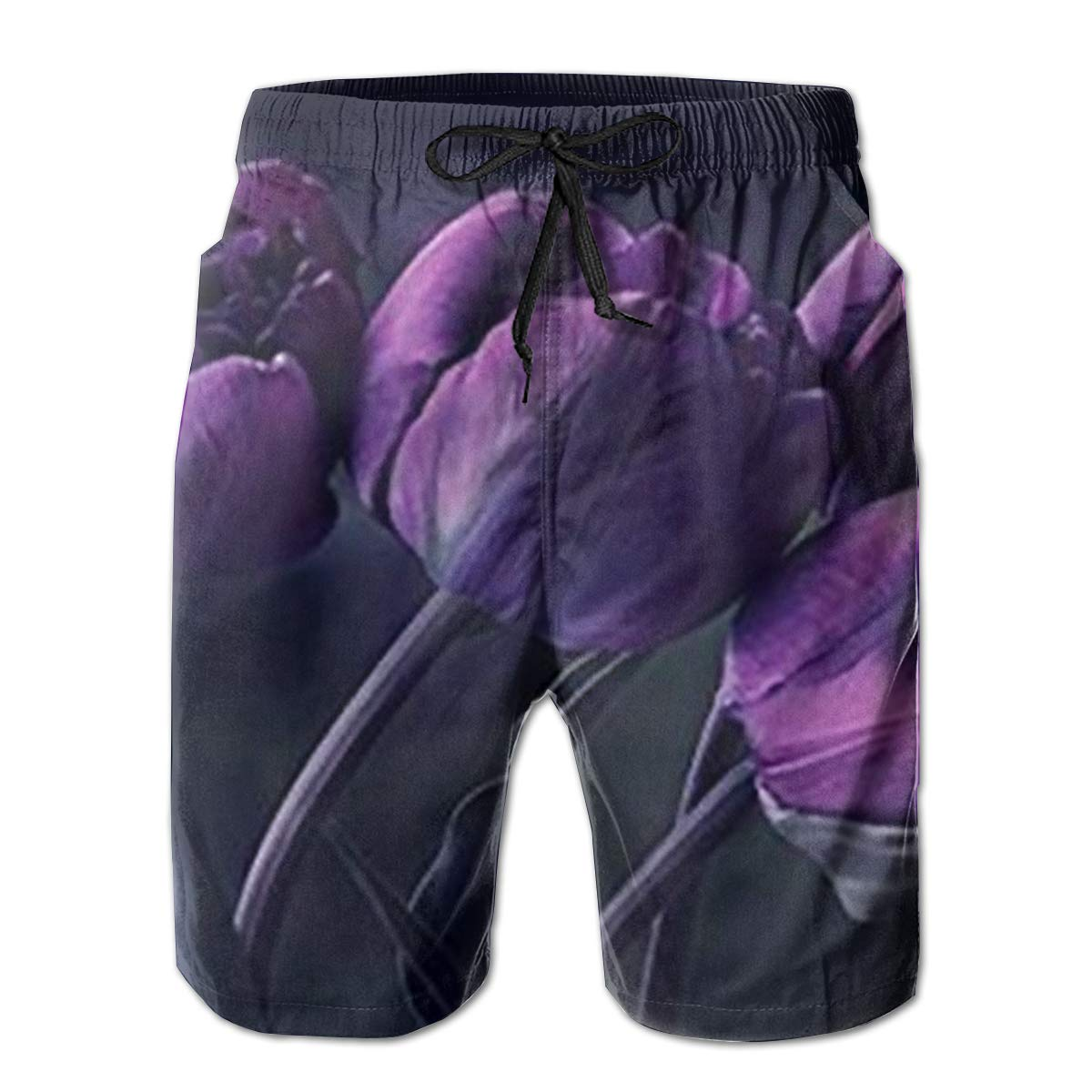 TR2YU7YT Dark Purple Tulip Flower Casual Mens Swim Trunks Quick Dry Printed Beach Shorts Summer Boardshorts Bathing Suits with Mesh Lining