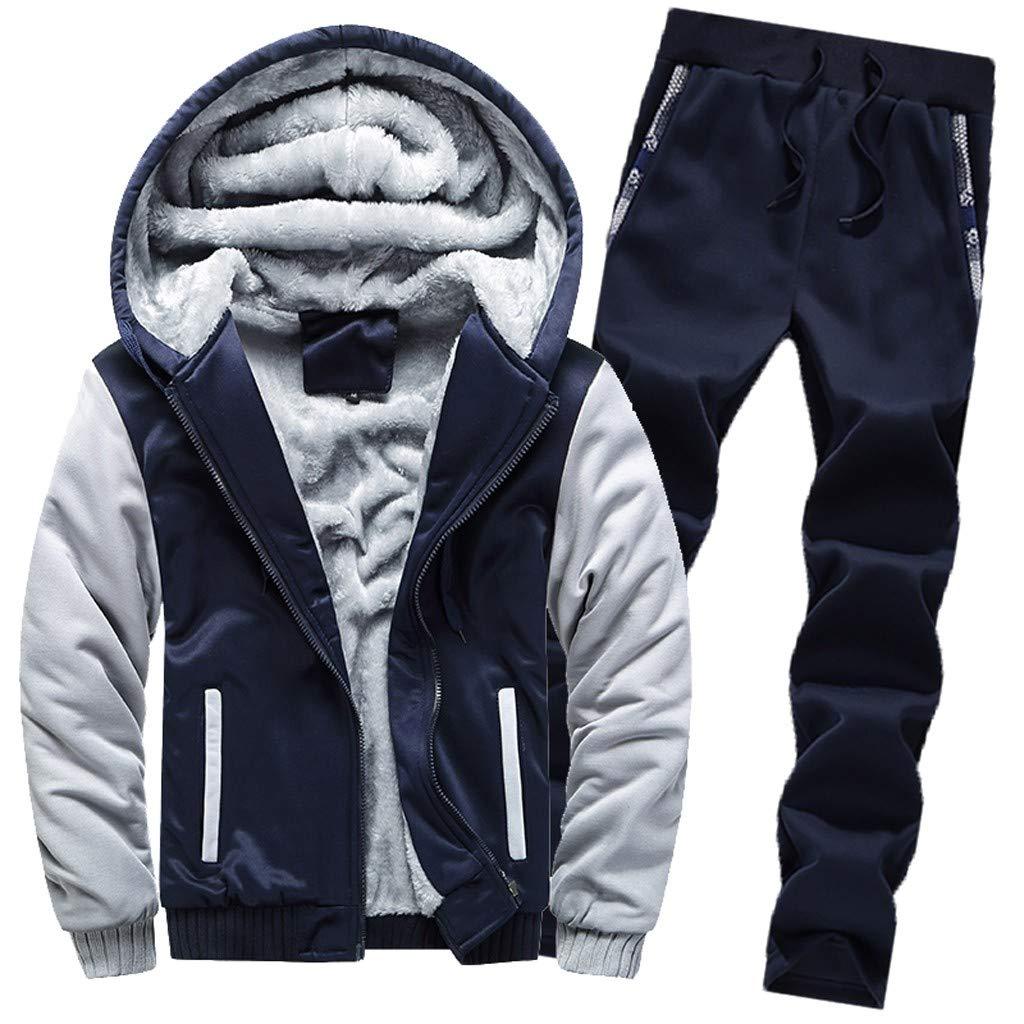 Toimothcn Mens Zipper Hoodie Sweatshirt Coat Faux Fur Lined Winter Warm Fleece Hooded Jacket Outwear(Dark Blue,XXL) by Toimothcn