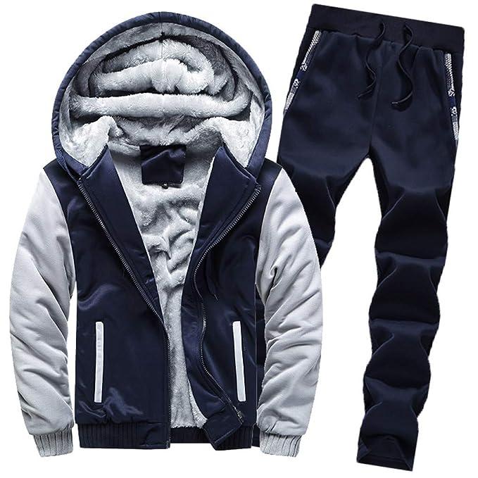 Capucha de Invierno cálido Fleece Cremallera suéter Chaqueta Outwear Abrigo PantalonesHombre Invierno Casual Manga Largas Classic Sudadera con Capucha ...