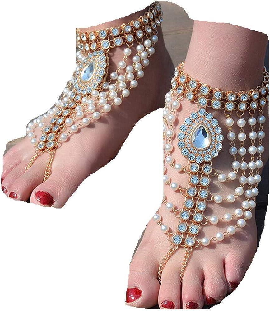 Liraly New Vintage Anklet for Women Tassel Gem Foot Jewellery Barefoot Sandal Crystal 2019