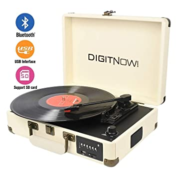 DIGITNOW Record Player, Turntable Suitcase with Multi-function Bluetooth/FM  Radio/USB and SD Card Port/Vinyl to MP3 Converter