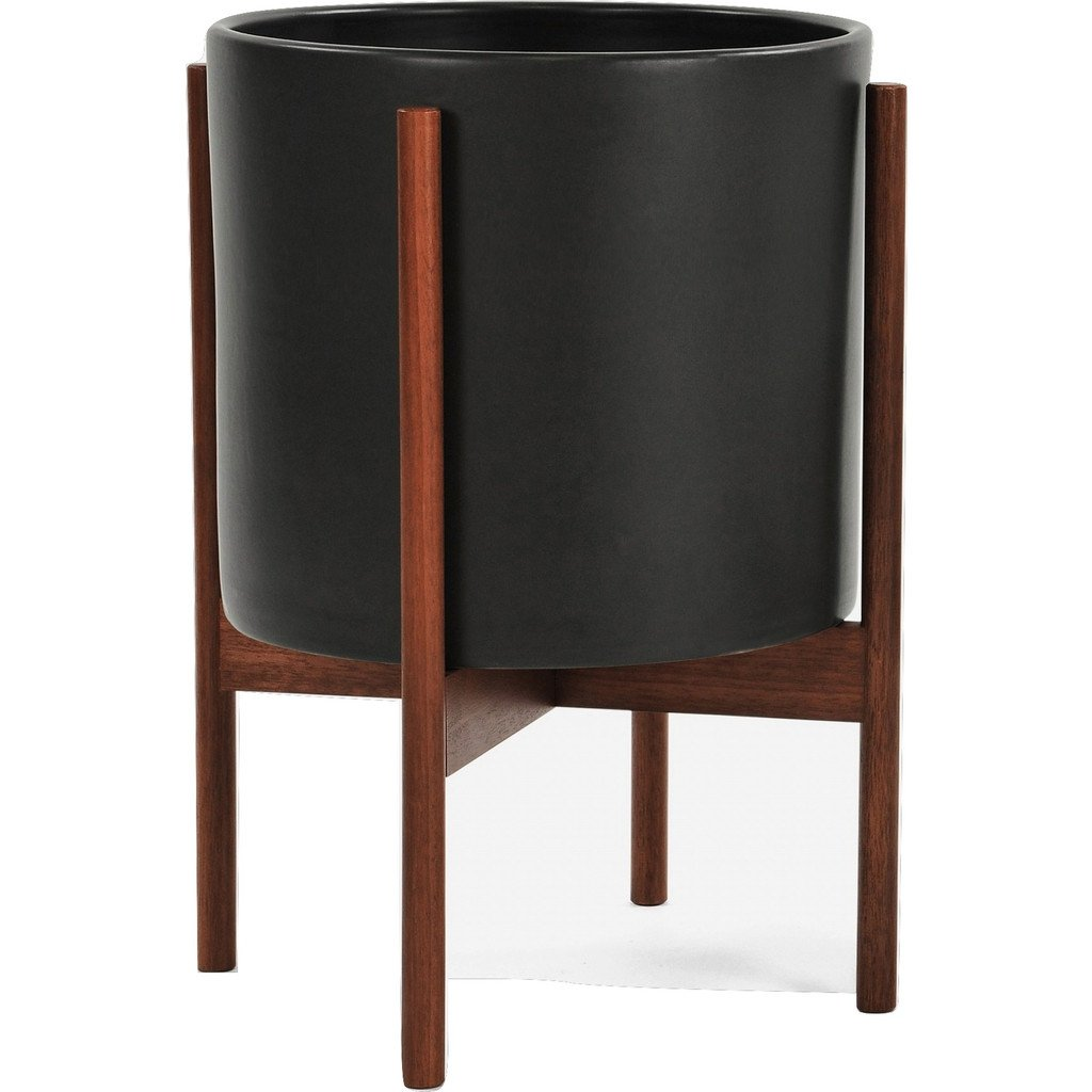 Case Study Ceramic Planter w/ Walnut Wood Base - Charcoal, Large by Modernica