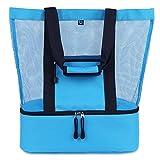 MALIBU Beach Bag - 2 in 1 Mesh Beach Tote Bag with Cooler + Free Beach Gift
