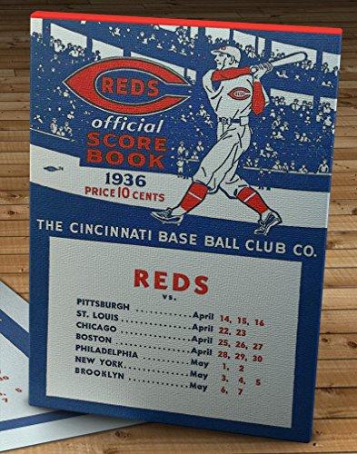 - 1936 Vintage Cincinnati Reds Baseball ScoreBook - Canvas Gallery Wrap - 11 x 16