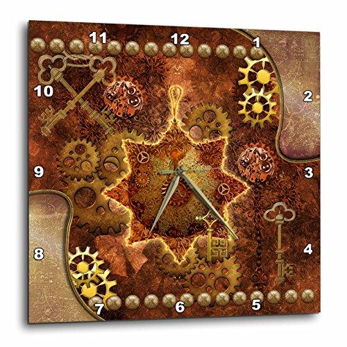 3dRose Heike Köhnen Design Steampunk – Steampunk, Noble Design with Gears – Wall Clocks