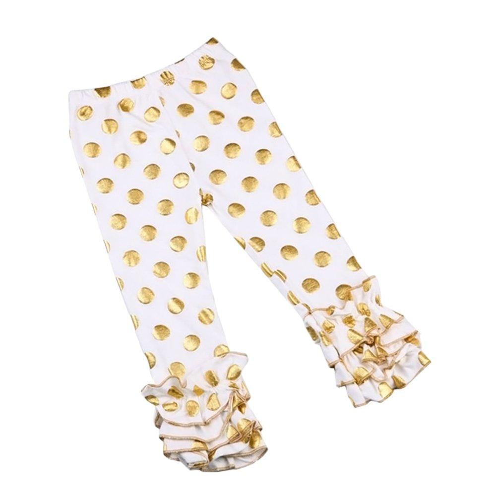 IWEMEK Little Girls Leggings Pants Baby Ruffle Soft Cotton Trousers with Gold Dot 3M-7Y