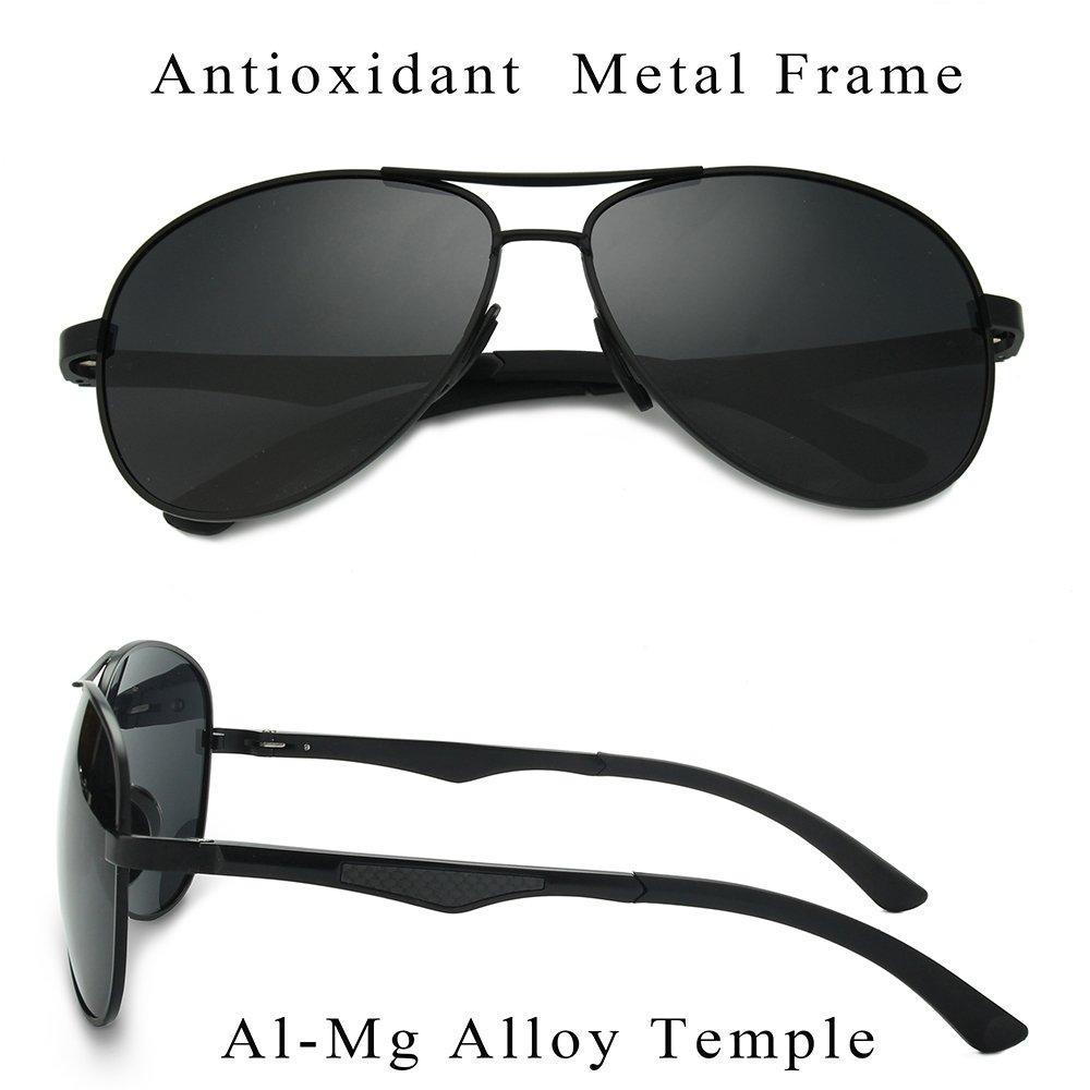 WELUK Aviator Sunglasses for Men Polarized Military Mirrored Pilot Retro Glasses (Black & Black, 62)