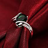 Silver Ring Fashion Cute nice green lady women Crystal Color Rings Jewelry (8)