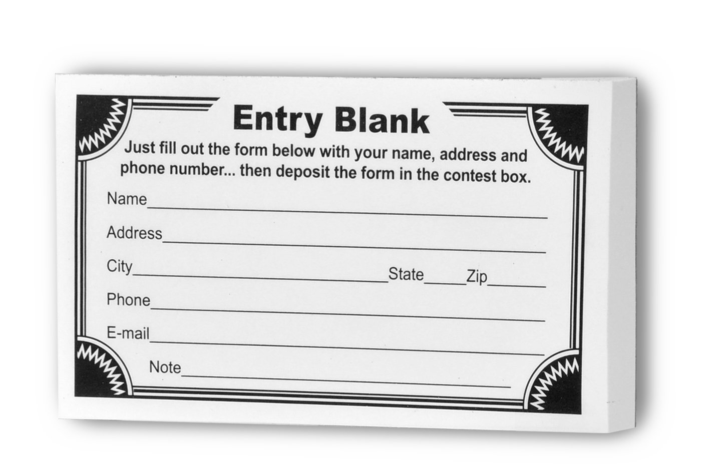 Marketing Holders Entry Form Pads for Raffles ~ Drawing Forms ~ Suggestion Card (Pack of 12)