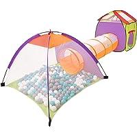 Selonis 3-i-1 lektält med tunnel lekplats boll grop med 100 bollar för barn, flerfärgad, grå/vit/turkos