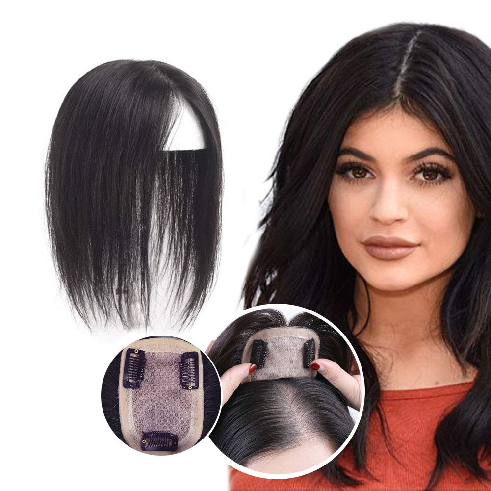 Clip in Hair Toppers Silk Base Human Hair Top Hairpiece Women Crown Toupee for Thinning Hair Natural Black 7x10cm 30cm