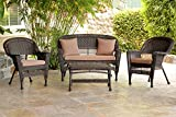 Jeco W00201-G-FS007 4 Piece Wicker Conversation Set with Cocoa Brown Cushions, Espresso Review