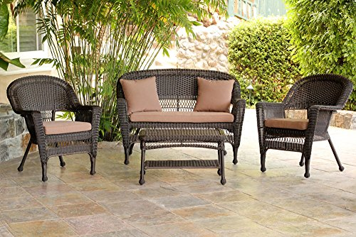 Jeco W00201-G-FS007 4 Piece Wicker Conversation Set with Cocoa Brown Cushions, Espresso