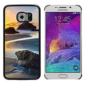CASECO - Samsung Galaxy S6 EDGE - Sunset Beach - Delgado Negro Plástico caso cubierta Shell Armor Funda Case Cover - Sunset Beach
