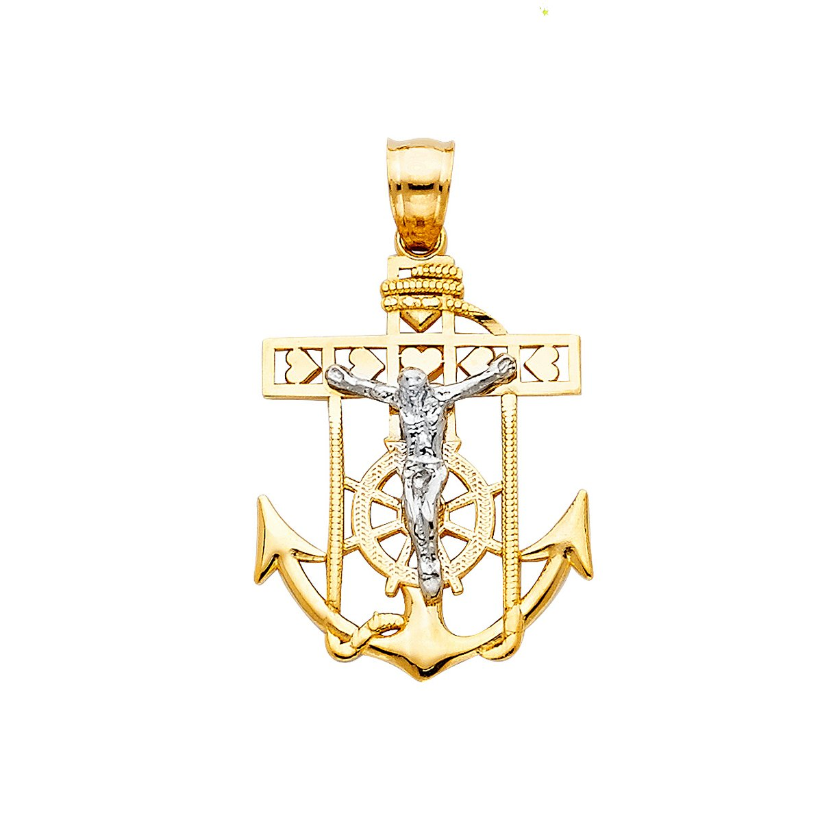 14K White Yellow Jesus Crucifix Anchor Religious Pendant - (Height - 26 MM Width-18 MM)
