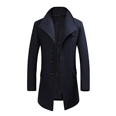 9913199d58c8a Image Unavailable. Image not available for. Colour: YOUTHUP Mens Coats Wool  Blend Winter Jacket Slim Fit Warm Wool Coat Thick Overcoat