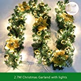 9FT Christmas Garland with Lights Battery Operated Christmas Garland with Balls Xmas Door Decoration Xmas Green Garland (Gold-With Lights, 1 Pack)