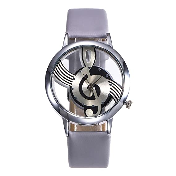 Womens Fashion Leather band watches Stainless Steel Musical dial symbol watch,GINELO (Gray)