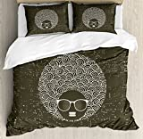 Black Woman King Size Duvet Cover Set by Lunarable, Circular Hair Pattern with Africa Originated Hairline Woman Sunglasses, Decorative 3 Piece Bedding Set with 2 Pillow Shams, Green Brown White