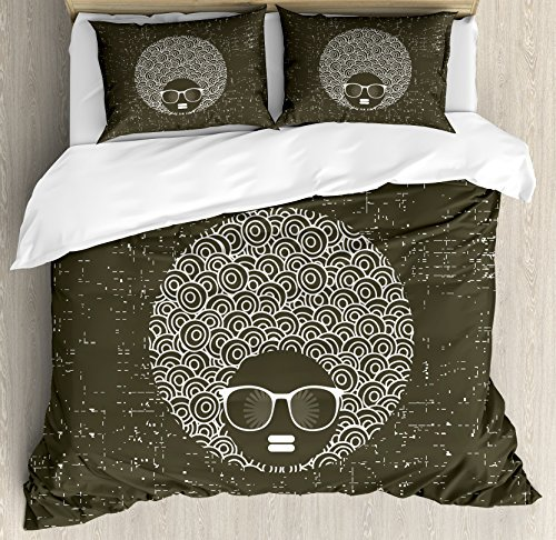 Black Woman King Size Duvet Cover Set by Lunarable, Circular Hair Pattern with Africa Originated Hairline Woman Sunglasses, Decorative 3 Piece Bedding Set with 2 Pillow Shams, Green Brown White by Lunarable