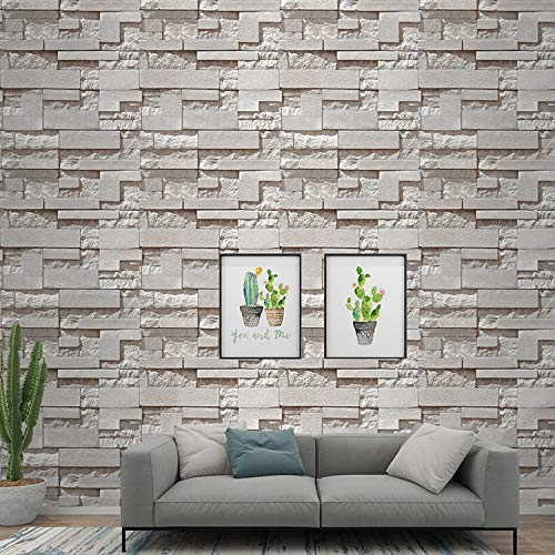 Eurotex 3d Effect Textured Retro Grey Slate Stone Pattern Non Adhesive Wallpaper Roll For Covering Living Room Bedroom Kitchen Home 57sqft 57503 Amazon In Home Improvement